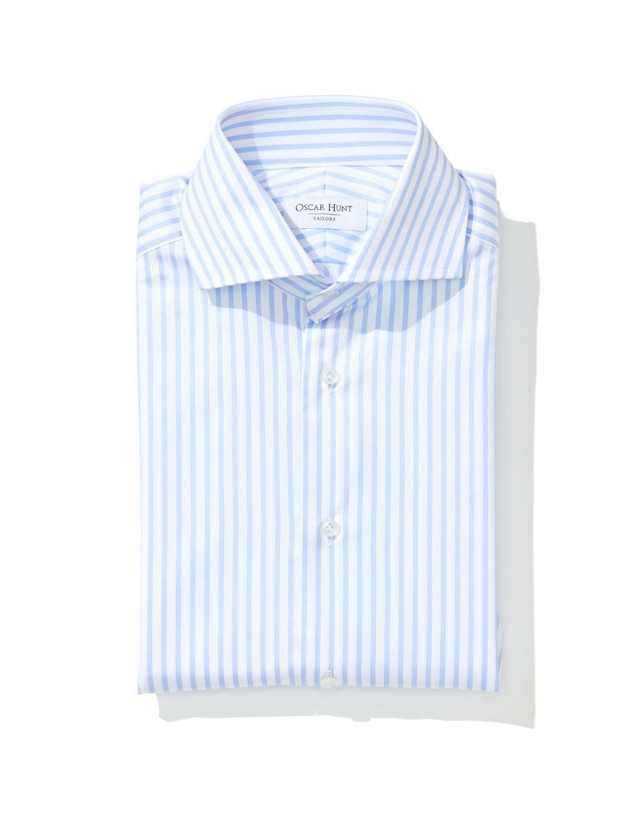 Light blue thick stripe cotton twill