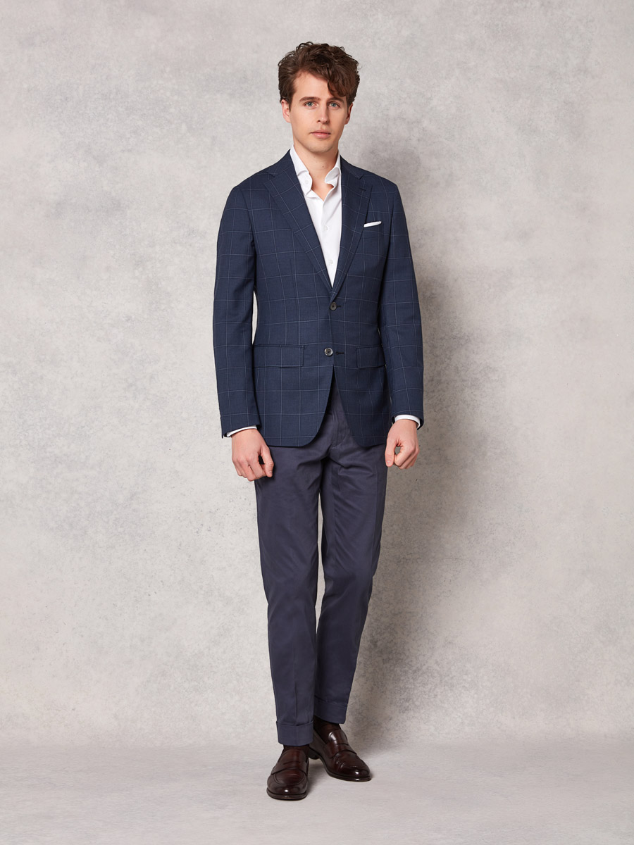 Navy windowpane jacket + slate blue cotton trouser