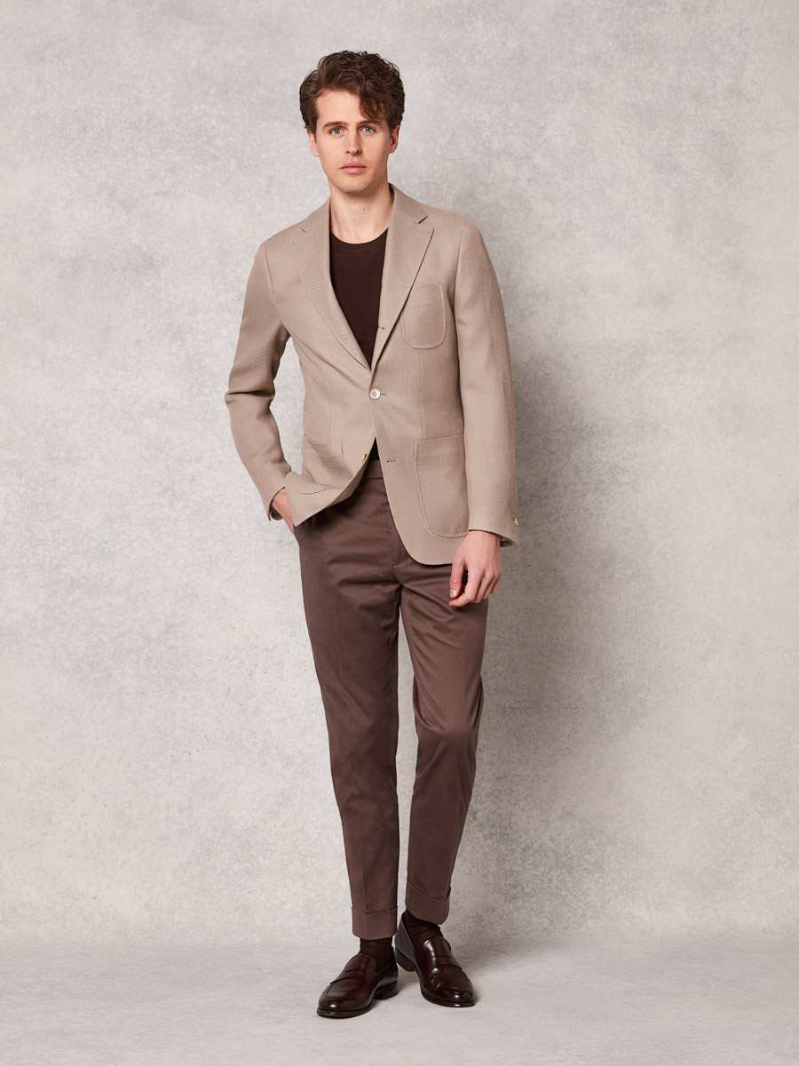 Latte jersey jacket + mid brown cotton trouser