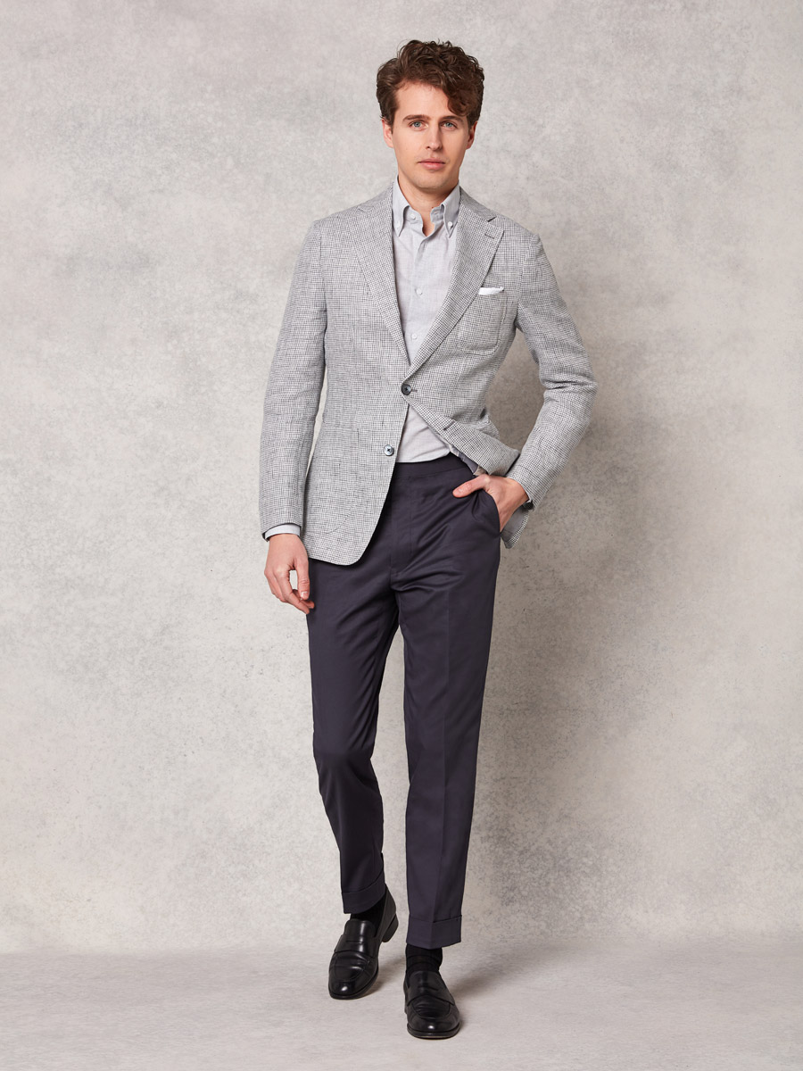 Light grey houndstooth jacket + grey cotton trouser