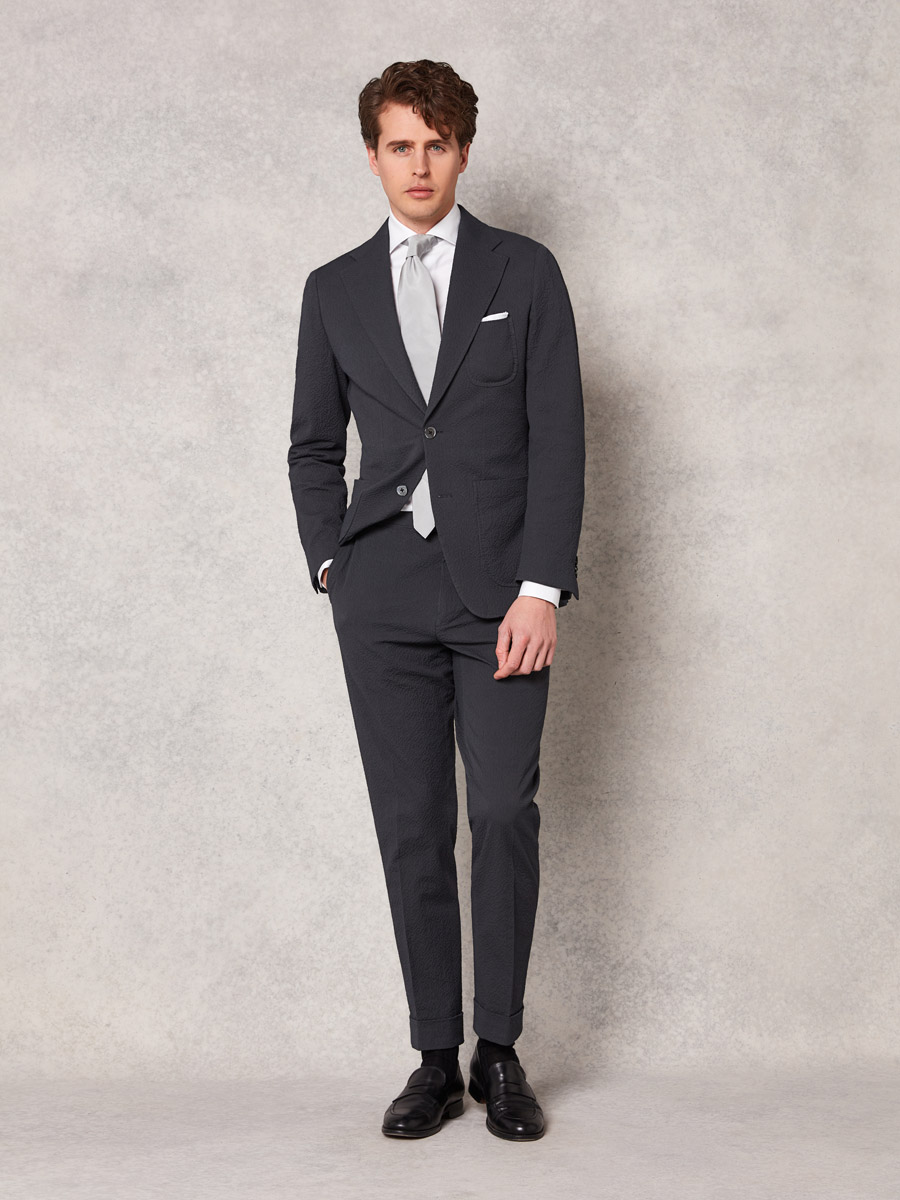 Dark grey seersucker 2 piece suit