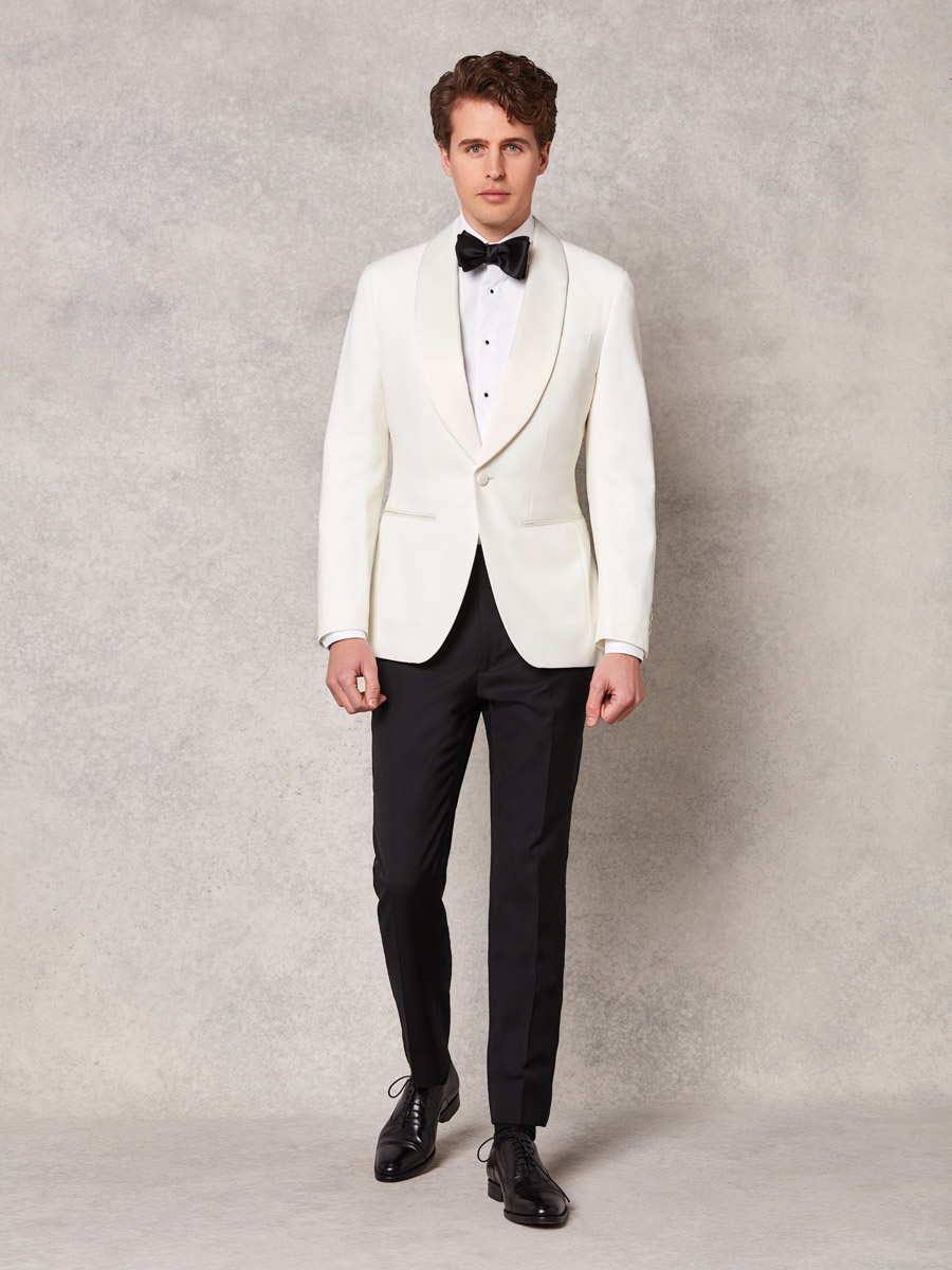 Off white jacket + black wool tuxedo trouser